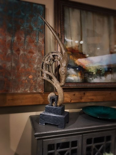 Oryx sculpture nw home interiors bend or for Reclaimed wood furniture bend oregon